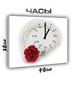 Картина с часами на холсте 30х40 Жемчужный браслет