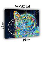 Картина с часами на холсте 30х40 Космический кот