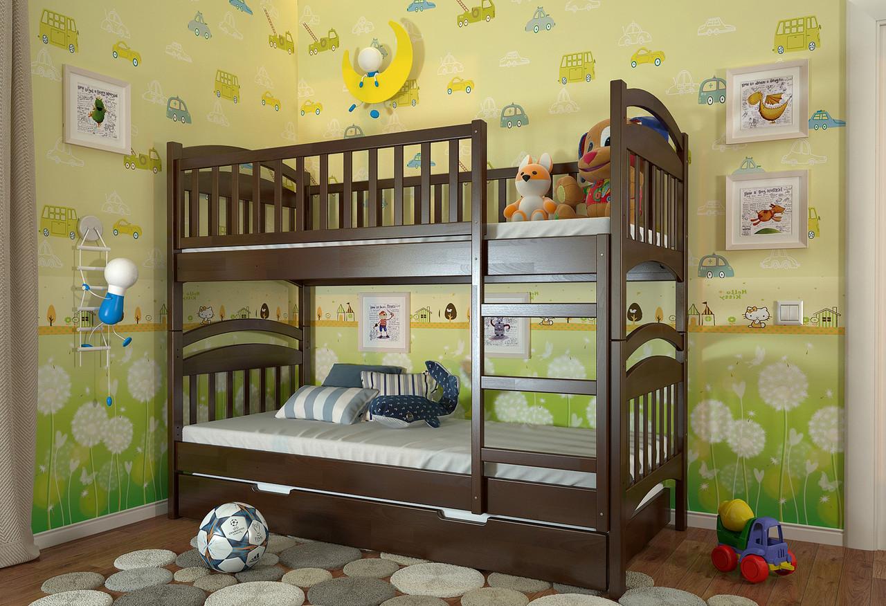 Кровать детская двухъярусная трансформер Смайл из натурального дерева - Romaniv_Kolir в Киеве