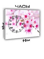 Картина с часами на холсте 30х40 Нежность цветков