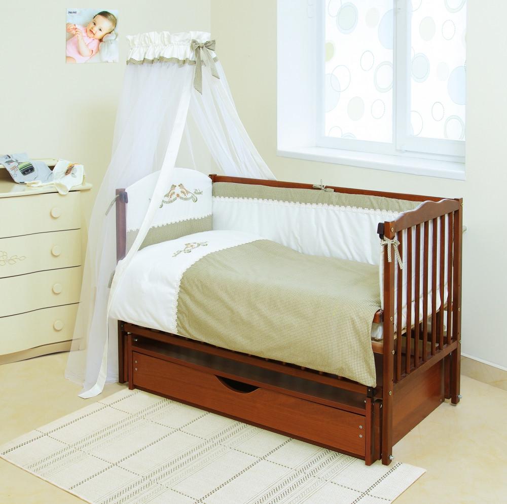 Детский постельный комплект Etno «Пташки» (Оливковый, E-001, 7 элементов), Twins