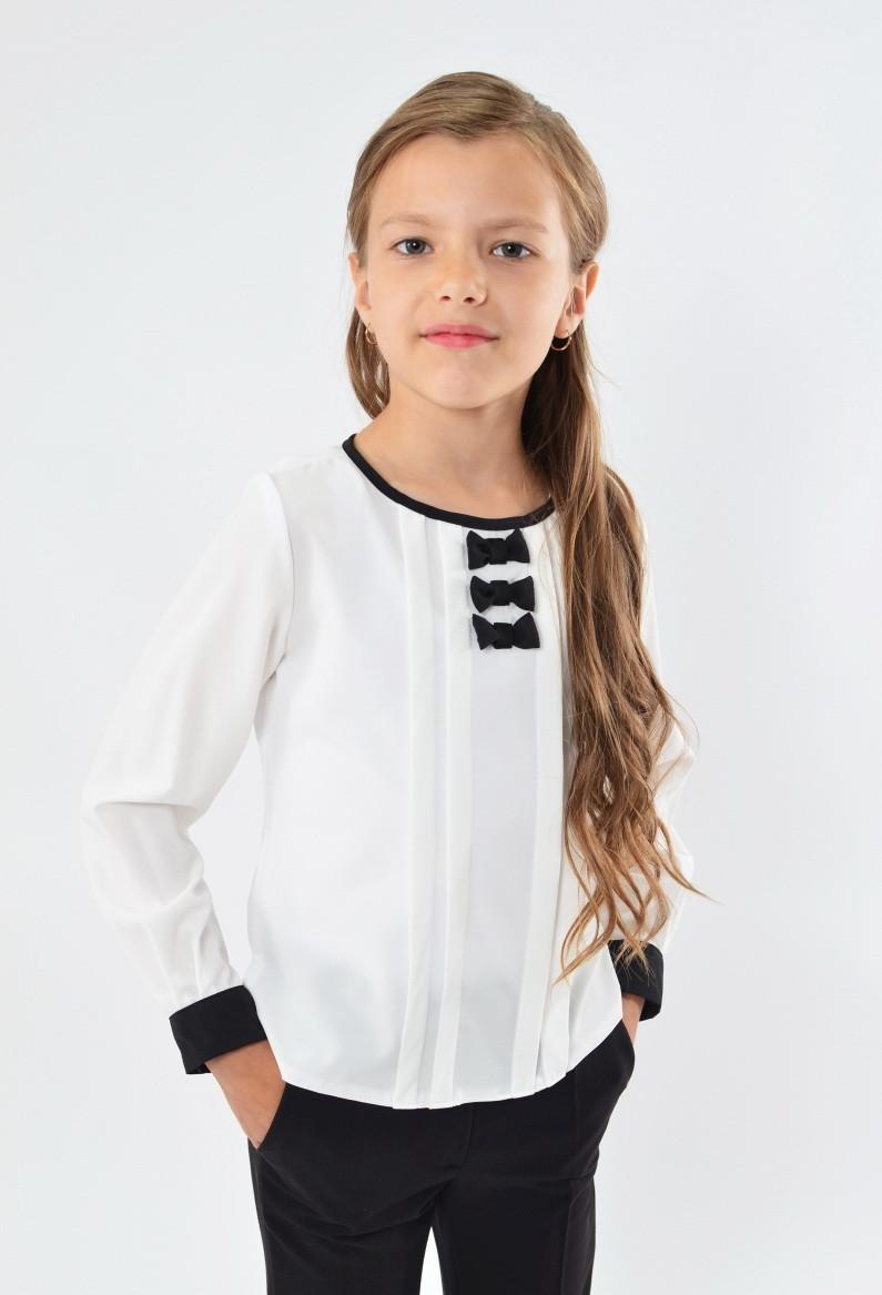 Красива модна шкільна блуза з бантиками для дівчинки в школу