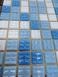 Мозаика Vivacer 327x327 GLmix100 микс голубой на бумаге