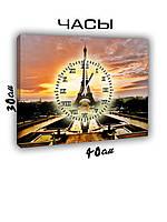 Картина с часами на холсте 30х40 Париж