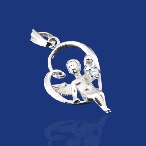 Серебряная подвеска Ангел на сердце