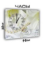 Картина с часами на холсте 30х40 Свадебный день