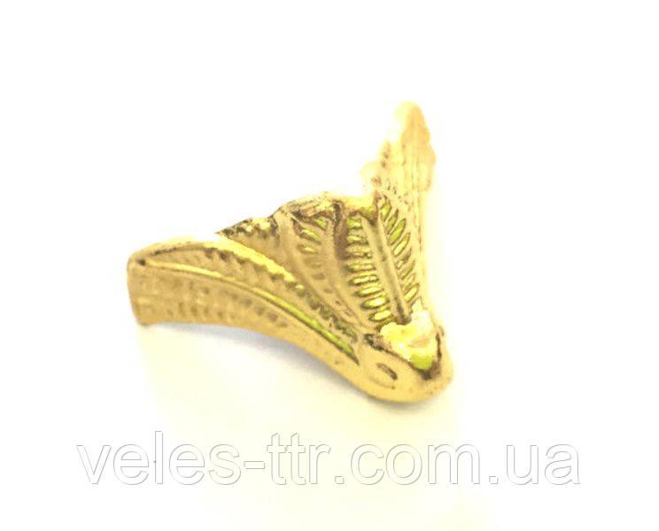 Ножка для шкатулок Листики золото 16х20 мм