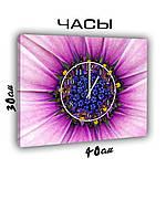 Картина с часами на холсте 30х40 Внутри цветка