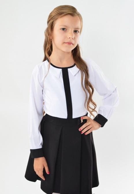 05509e64e94 Красивая модная школьная белая блуза с фигурным воротничком для девочки в  школу