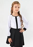 Красивая модная школьная белая блуза с фигурным воротничком  для девочки в школу