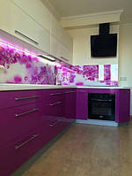 Угловая кухня Белый с Фиолетовым