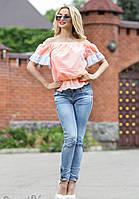 Нежная Летняя Блуза из Батиста с Рюшами Персиковая