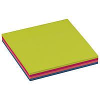Блок бумаги с клейким слоем GlobalNotes 75х75мм 100л Rainbow NEON  4 цвета по 25 л.,