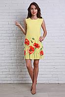 Желтое летнее платье с маками