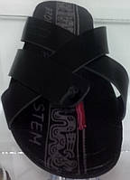 Шлепанцы мужские Broni Л26-01 черные, кожаные
