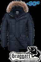 Куртка зимняя мужская удлиненная Braggart Dress Code - 1005A темно-синяя