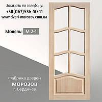 Двери из массива сосны. модель Чайка с форточками под стекло