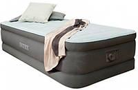 Надувная велюр кровать Intex 191х99х46 см со встроенным насосом