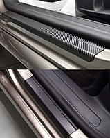 Накладки на пороги Volkswagen Polo V 3D 2009- 2шт. Карбон