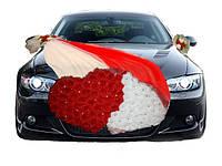 """Украшение на машину """" Двойное сердце"""" (красно-белый)"""