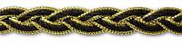 Тесьма косичка Черная с золотом 10 мм 11 метров