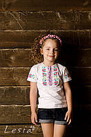 Вишиванка для дівчинки Веселка рожева, фото 1
