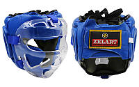 Шлем для единоборств с прозрачной маской PU ZEL ZB-5209-B (синий, р-р M-XL)