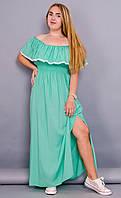 Ксения. Модное женское платье плюс сайз. Мята.