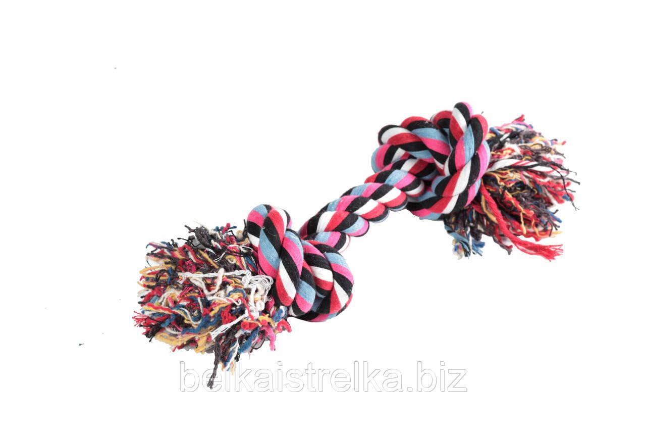 Канат грейфер FOX, игрушка для собак, цветной, с двумя узлами