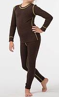 Детское термобелье с шерстью для девочки коричневое