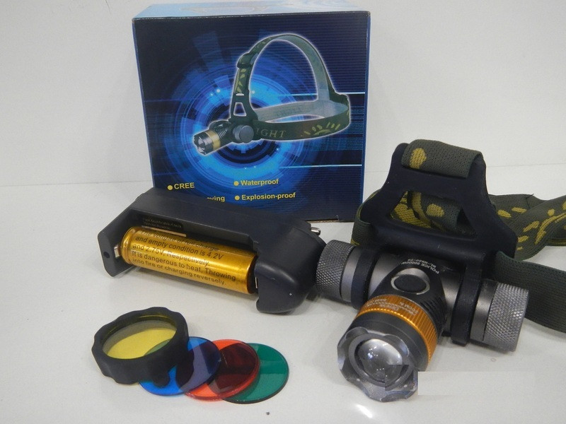 Налобный фонарь сверхмощной яркости с светофильтрами аккумуляторный.