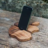 Деревянная подставка для смартфона или планшета Яблоко