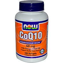 Коэнзим Q10 NOW Coq10 omega-3 fish oil 120 капс
