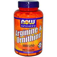 Аминокислоты отдельные NOW Arginine and ornithine 100 капс