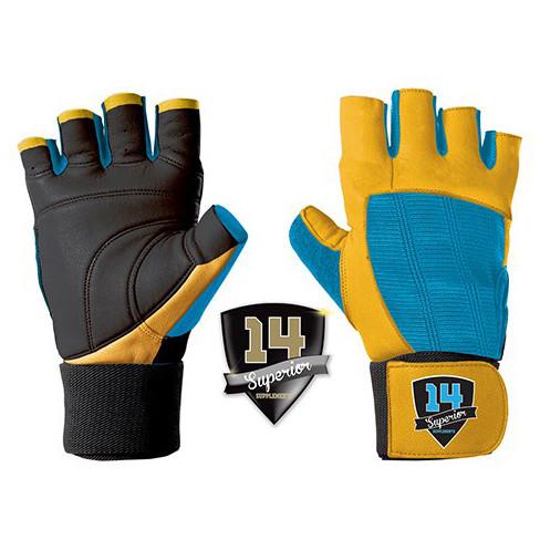 Перчатки спортивные, для зала Superior 14 Supplements Перчатки черно-сине-желтые 2 шт   XL