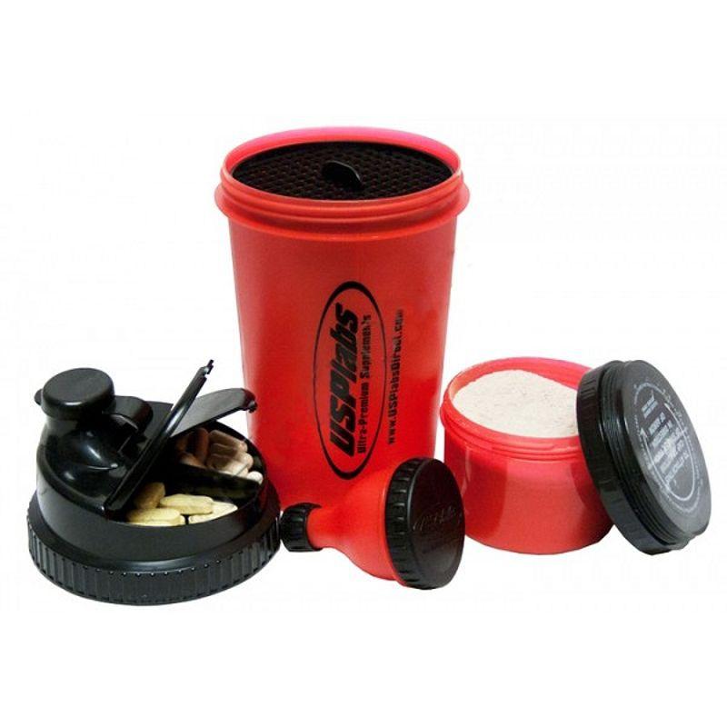 Шейкеры смарт USP Labs 3 in 1 Shaker Cup  Fill-n-go Funnel  700 ml red