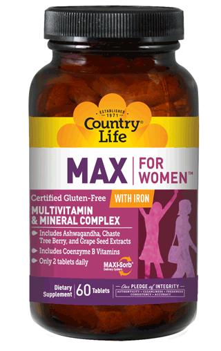 Витаминные и минеральные комплексы Country life Maxine with iron (максин с железом) 60 таблеток