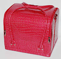 """Сумка-чемодан с выдвижными полочками """"кожа крокодила"""",цвет-розовый лак. Размеры 30х26х23 см."""