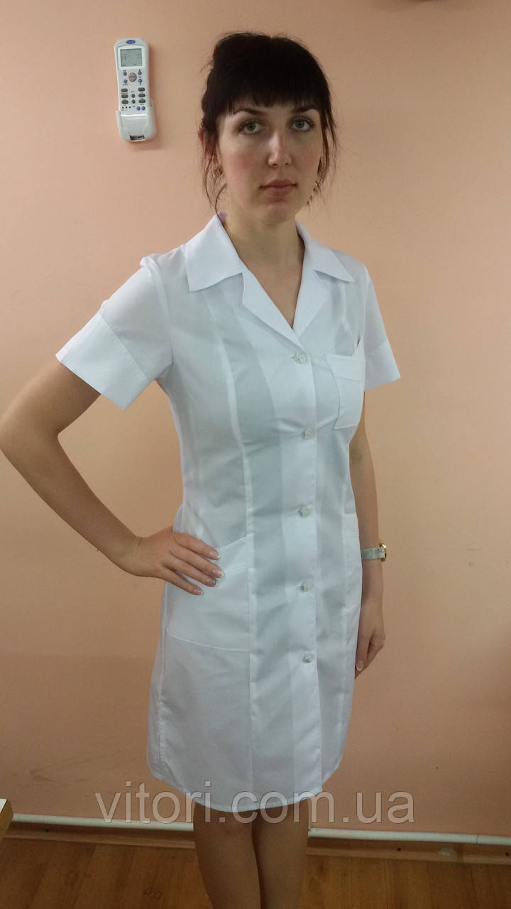 ff07db0e082a8 Медицинский женский халат на пуговицах больших размеров Мозаика короткий  рукав