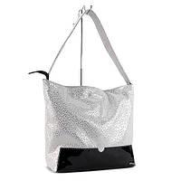 Белая кожаная сумка-мешок женская Viladi