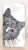 Чехол бампер HTC Desire 610 гибкий пластик кот
