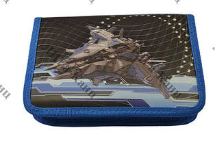 """Пенал на змейке 3D """"Космический корабль"""" 1 отделение,2 отворота б/наполнения Lider"""