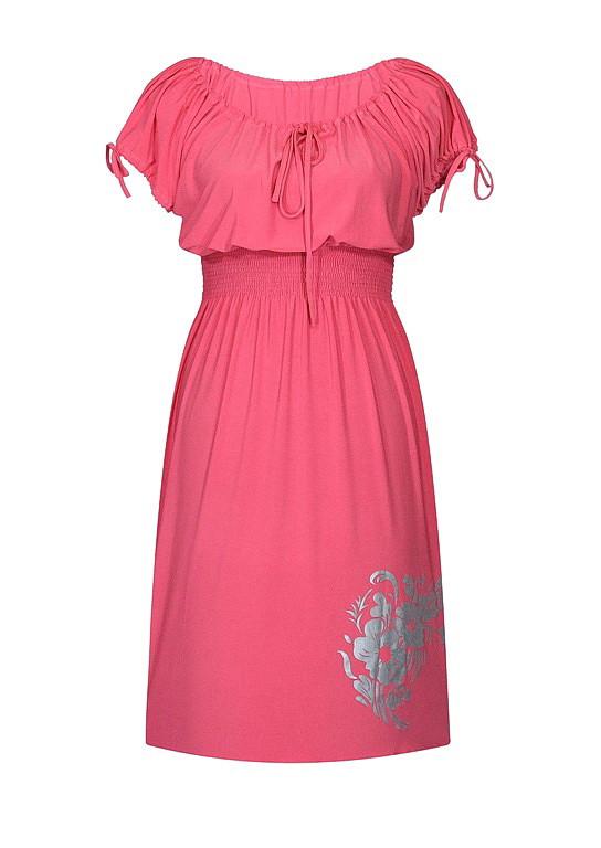 Платье с резинкой на талии летнее Букет