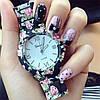 Часы женские наручные Genevа черные цветочные
