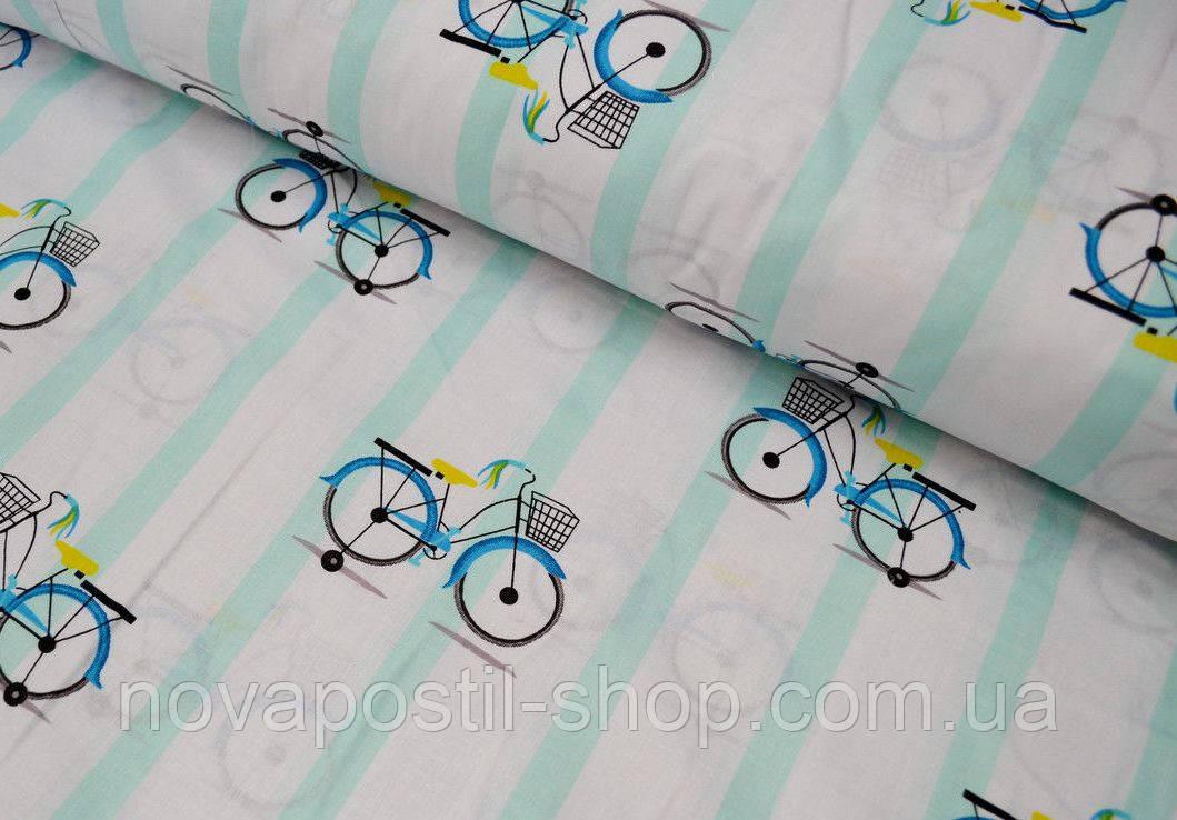 Детское постельное белье Велосипеды Мята (100% хлопок)