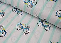 Детское постельное белье Велосипеды Мята (100% хлопок), фото 1