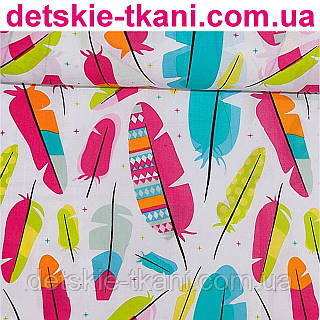 Бязь с большими разноцветными пёрышками (№183а)