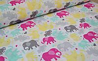 Детское постельное белье Слоники Цветные 1 (100% хлопок)