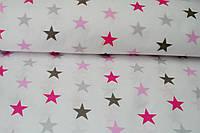 Детское постельное белье Звезды серо-розовые (100% хлопок)