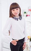 Шифоновая блуза с ажурным воротничком мод.7005 152